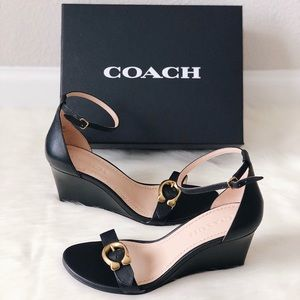 New COACH Odetta Wedge Ankle Strap Leather Sandals